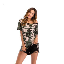Womens Summer Tshirts Camouflage Print Sashes Crew Neck Casual Tees Female Loose Clothing