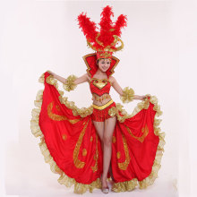 Brazil Opening Dance Expansion Big Skirt Costume Set Sexy Performance Wear Fashion Modern Dance Clothes Female Stage Outfit
