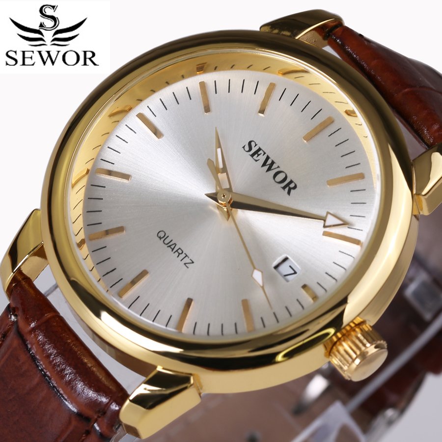 Top Brand SEWOR Auto Date Watch Men Gold Case Luxury Mechanical Watches Men's Fashion Leather Wrist watch Montre Homme 2017 fosining luxury montre homme watch men s auto mechanical moonpahse genuine leather strap watches wristwatch free ship