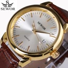 Top marque SEWOR Auto Date Montre hommes boîtier en or de luxe montres mécaniques hommes de mode en cuir Montre-bracelet Montre Homme 2017