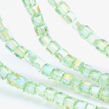 OlingArt Square 3/4/6/8MM Austria Crystal Beads charm Glass Green apple color Loose Spacer Bead for DIY Jewelry Making