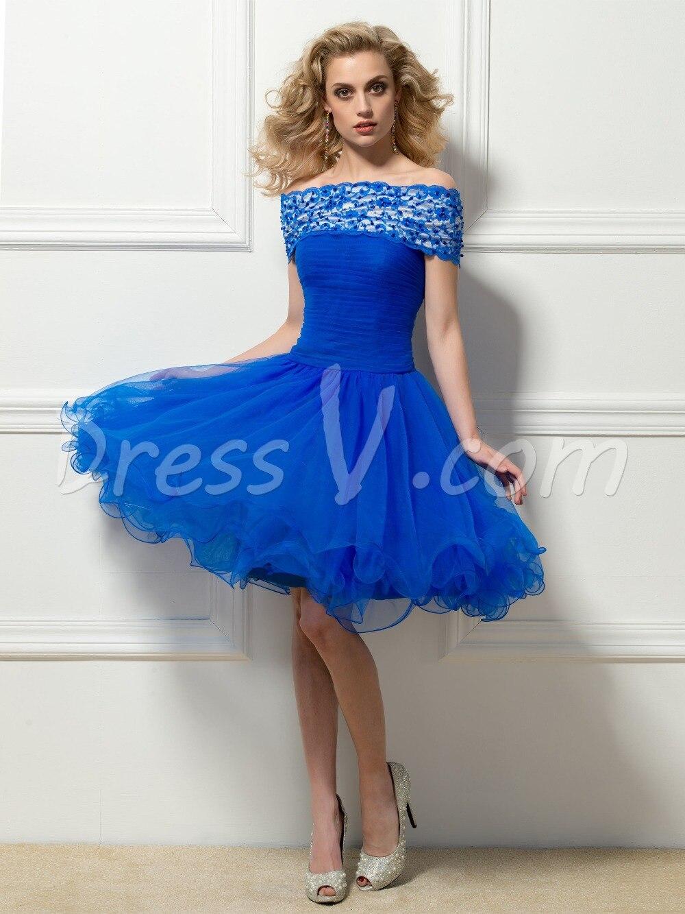 Romantic Short Cocktail Dresses 2015 Royal Blue Lace Off the ...