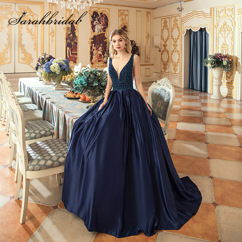 Grand Party Beading Ball Gown Evening Dress Navy Blue Sexy Deep V-Neck Long Satin Draped Women Formal Prom Dresses OL546