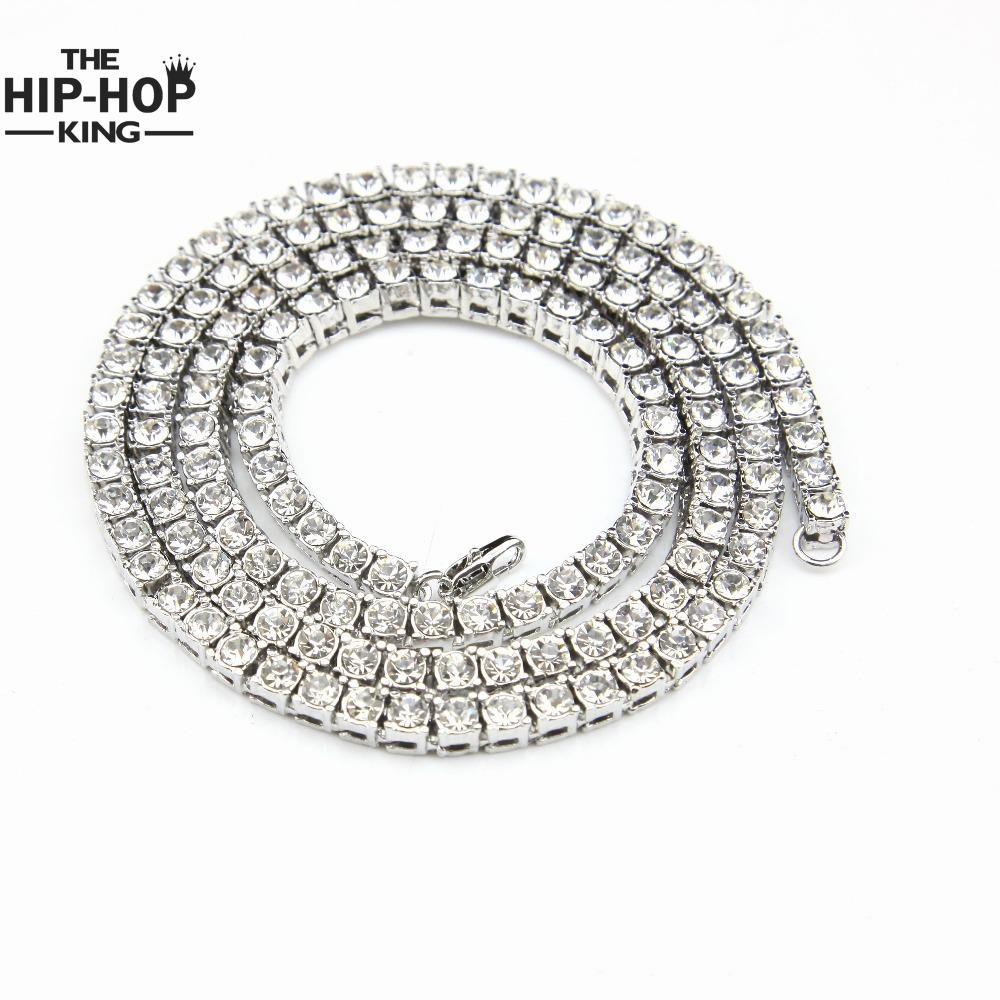 √Mens Gold Iced Out Crystal ᐊ 1 1 Row Tennis Chain HipHop