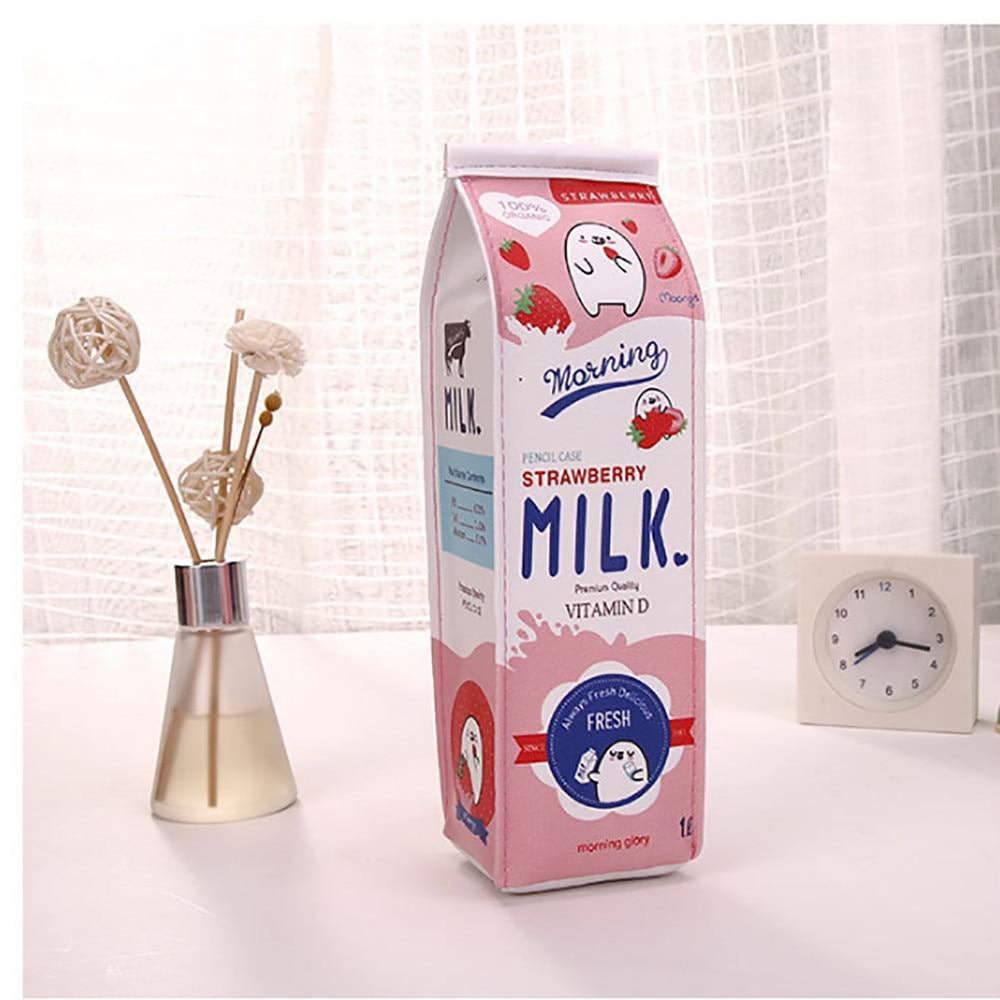 Home Storage & Organization Selfless Muqgew Home Office Cute Pencil Case Creative Milk Pencil Bag For Gift Novelty Item Rangement Bureau Papelaria Criativa Organiser
