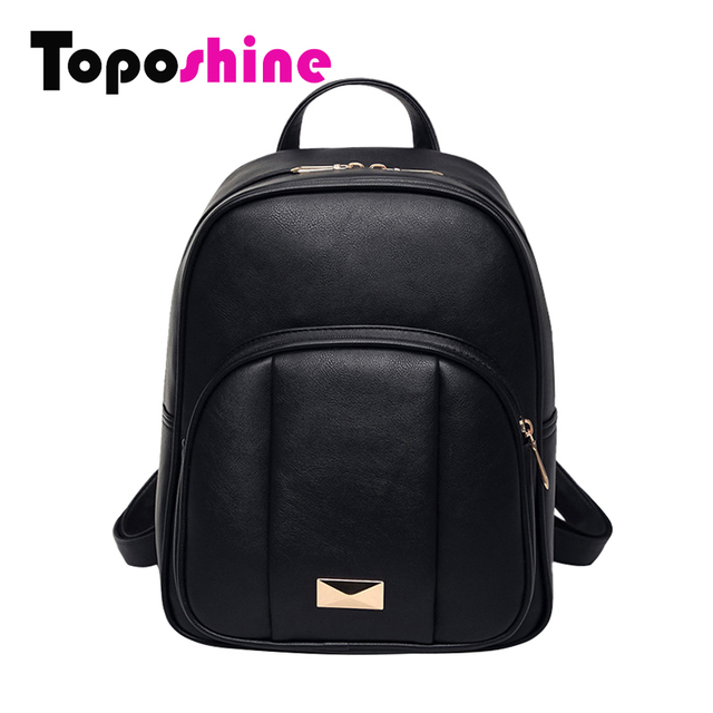 Toposhine Solid Color New Women Backpack Black PU Leather Women's Backpacks Fashion Girls School  Bag Cute Female Backpacks 1577
