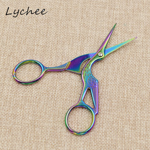 Sewing-Tool Scissors Crane Stainless-Steel Titanium-Plated DIY Lychee Animal-Shape Colorful