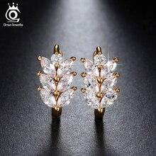 ORSA JEWELS Pendientes color plata 2017 estilo hoja marquesa zirconias tranparentes austríacas corte AAA Pendientes de cuentas fashion mujer OME03