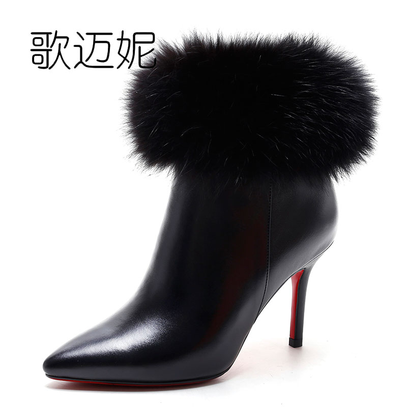 ladies high heel ankle boots women bota feminina botas botines mujer 2017 boot bota de neve womens genuine leather winter boots 2017 cow suede genuine leather female boots all season winter short plush to keep warm ankle boot solid snow boot bota feminina