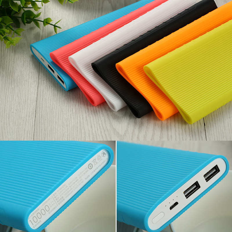 Silicone Protective Case For Xiaomi Power Bank 2 10000 mAh Dual USB Port Dirt-resistant Case Cover For Power bank Model PLM09ZM