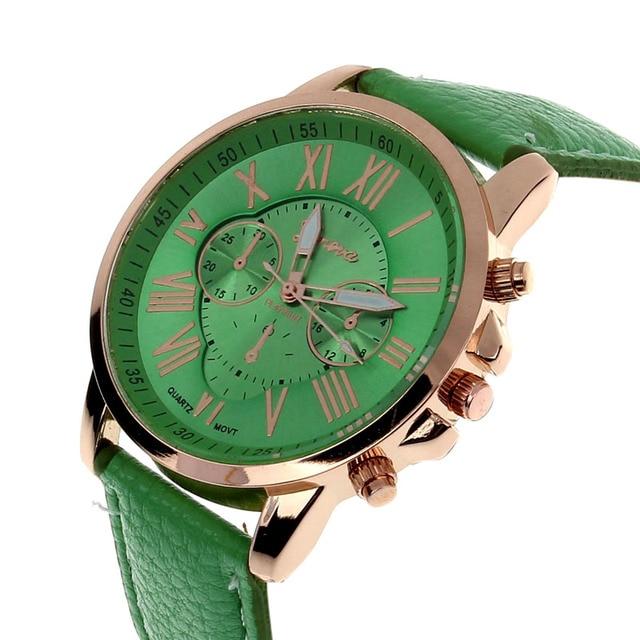 Fashion 2019 Women's Geneva Roman Numerals Faux Leather Analog Quartz watches woman clock Women Bracelet Watches luxury #15