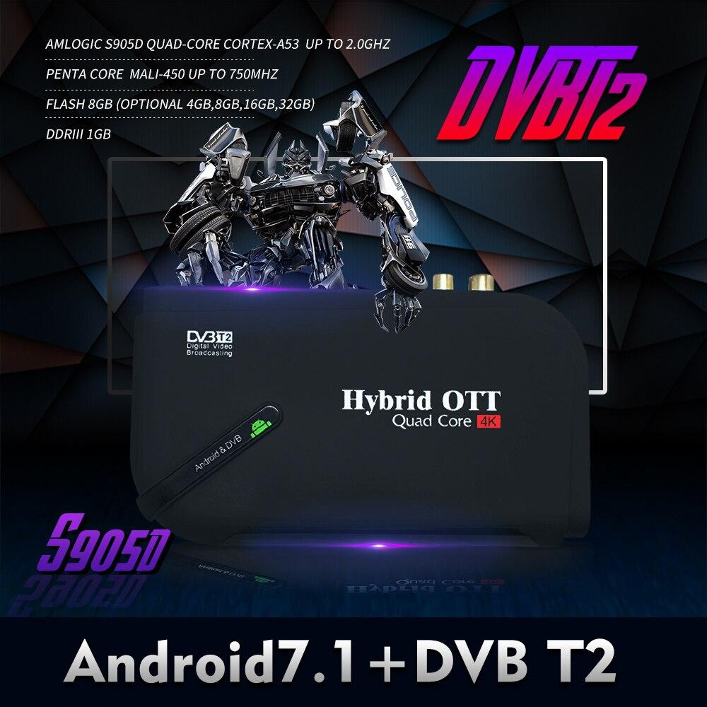 Chaud Android 7.1 DVB T2 android tv box Quad Core OTT/DVB-T2 BT4.0 H.265/MPEG-4 dvb-t2 tv tuner 4 K décodeur intelligent lecteur multimédia