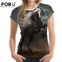 FORUDESIGNS 3D Print T Shirt Cool Horse Print Elastic T Shirt Women Girls Shirts Animal Soft