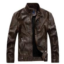 Motorcycle Jacket Men 2015 Stand Collar Zipper PU Leather Men Jacket Polyester Winter Casual Plus Velvet Men Jackets