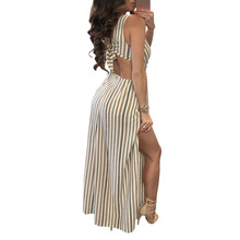 Viven Leigh Womens Sexy Long Club Summer Ladies stripe Sleeveless V Neck  Maxi Dress a858cecba35c