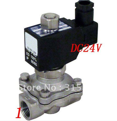 цены Free Shipping 5PCS/Lot 1'' Two Way 2 Position Solenoid Valve 24VDC Stainless Steel Valve Body Acid VITON
