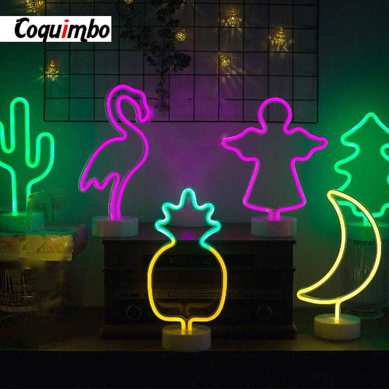 Rainbow Led Neon Light Sign Holiday Xmas Party Wedding Decorations Kids Room Home Decor Flamingo Moon Unicorn Neon Lamp