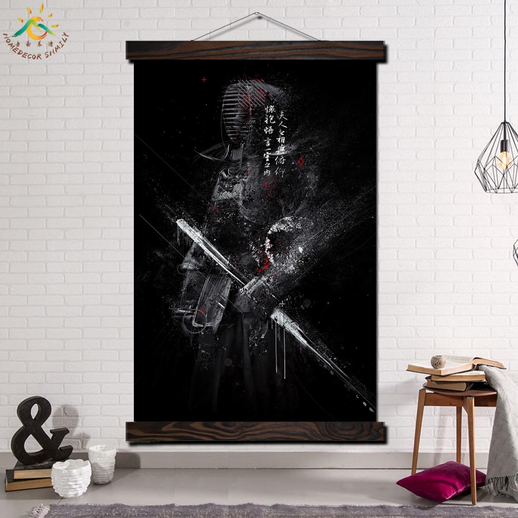 Japan Samurai Single Framed Scroll Painting Modern Canvas Art Prints Poster Wall Painting  Artwork Wall Art Pictures Home Decor
