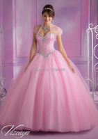 Princess Pink Quinceanera Dresses with Jacket Organza Beaded Ball Party Gowns for 15 Year Vestidos De Gala Custom Size BQ392