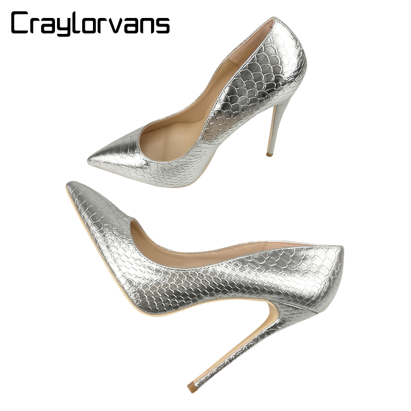 Craylorvans Silver Snake Leather 12/10/8CM High Heels Shoes Women Wedding Party stiletto Pumps Most Thin Heel Pointed Shoes Craylorvans Silver Snake Leather 12/10/8CM High Heels Shoes Women Wedding Party stiletto Pumps Most Thin Heel Pointed Shoes