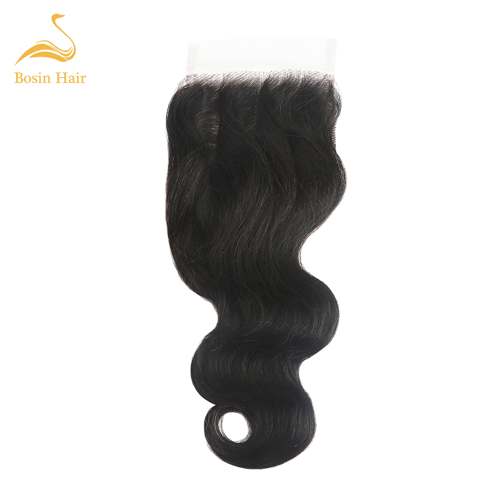 Bosin Body Wave Lace Closure Brazilian Natural Color 4*4 Free/Middle/Three Part