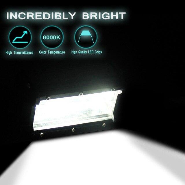 5 אינץ 72 W ארבעה שורות Led אור בר חיצוני שונה מחוץ לכביש גג בר אור 6000 K 10800LM עבודת המכונית אור בשעות היום ריצת אורות
