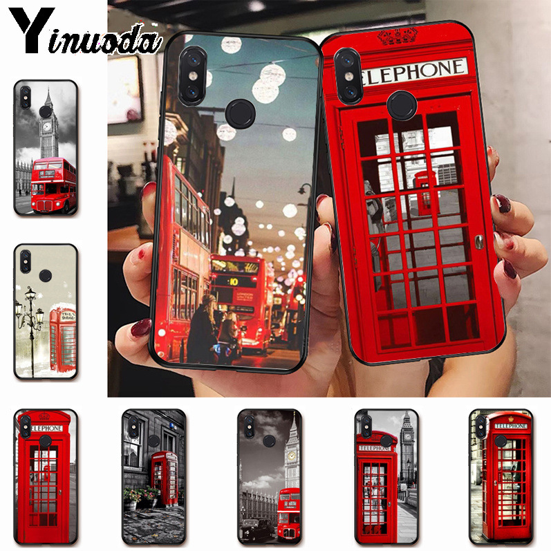 Ynuoda Multi colored bus london phone booth light Colorful Phone Case for xiaomi mi 8 se 6 note3 redmi 5 5plus note 5 case coque