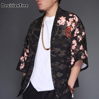 2019 summer men street hiphop kimono loose cardigan Tiger Print men japanese yukata coat kimono outwear cotton vintage top