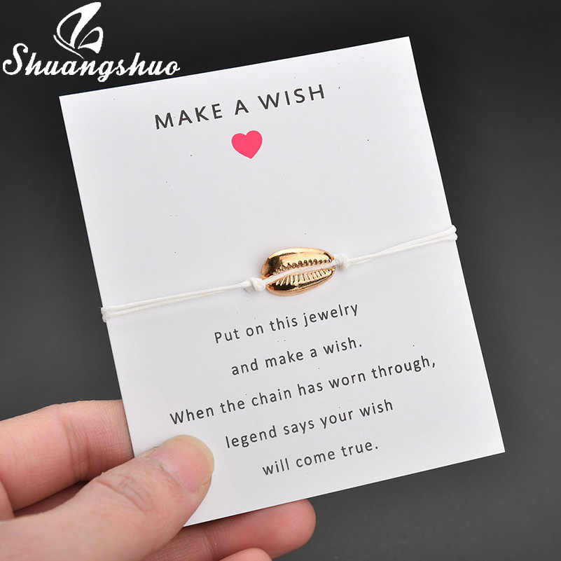 Shuangshuo תכשיטים פגזים צמיד לנשים קסמי צמידי זהב צדף שחור חבל שרשרת צמיד homme femme 2019