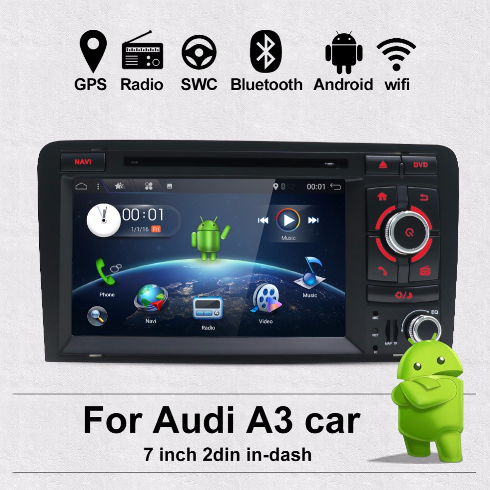 Bosion 7 дюймов HD 2 Din Android 7,1 4 ядра Автомобиль Радио Стерео DVD плеер Мультимедиа Навигация gps для Audi A3 8 P 2003-2011