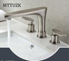 MTTUZK Kostenloser Versand Messing Dual Griff Nickel Gebürstet Messing Bad  Wasserhähne Waschbecken Mischbatterie 3 Bohrungen Becken