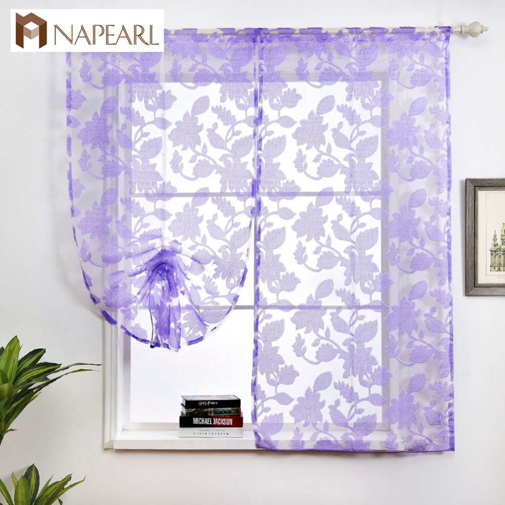 NAPEARL Short Kitchen Curtain Jacquard Tie Up Valance Panel Modern Floral Design White Purple Brown Cream Door Roman Curtains