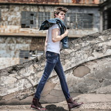 2017 Sale Direct Selling Zipper Fly Cotton Slim Mid Men Stretch Jeans Male Korean Winter High-end Men's Straight Size