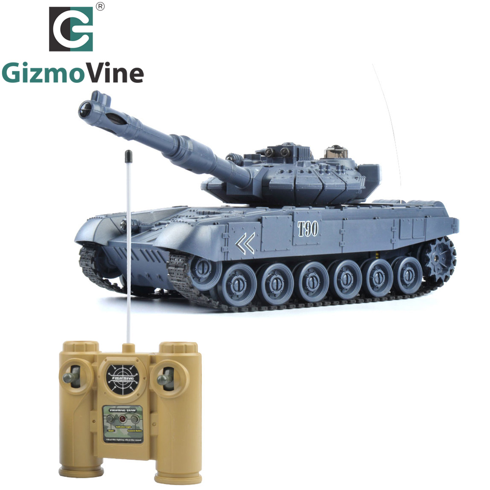 Image 2 - E T 1/20 RC Tank 9CH 27Mhz Infrared RC Battle T90 Tank Cannon & Emmagee Remote Control Tank Remote Toys for Boys Chassis Tank-in RC Tanks from Toys & Hobbies