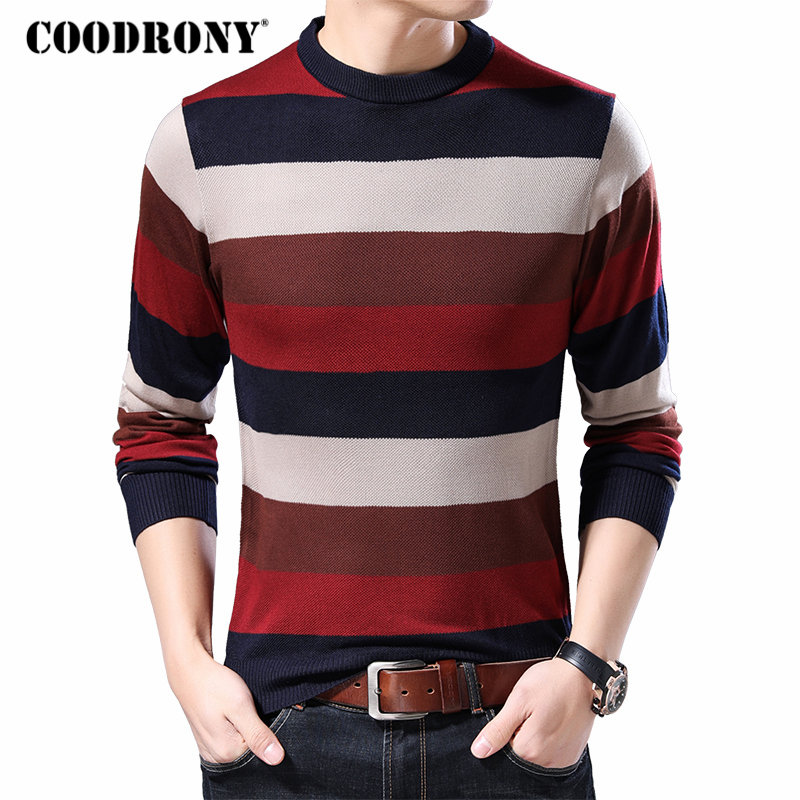 COODRONY Brand Sweater Men Cotton Knitwear Pull Homme Streetwear Fashion Striped Pullover Men Autumn Winter Mens Sweaters 91038