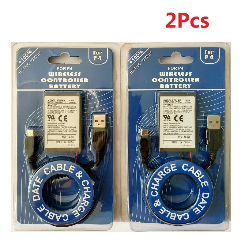 2 Teile/los Ps4 Batterie 2000 Mah Batterie + Ladegerät Kabel Für Sony Wireless Controller Li-ion Lithium-akkus Ersatz GroßE Vielfalt
