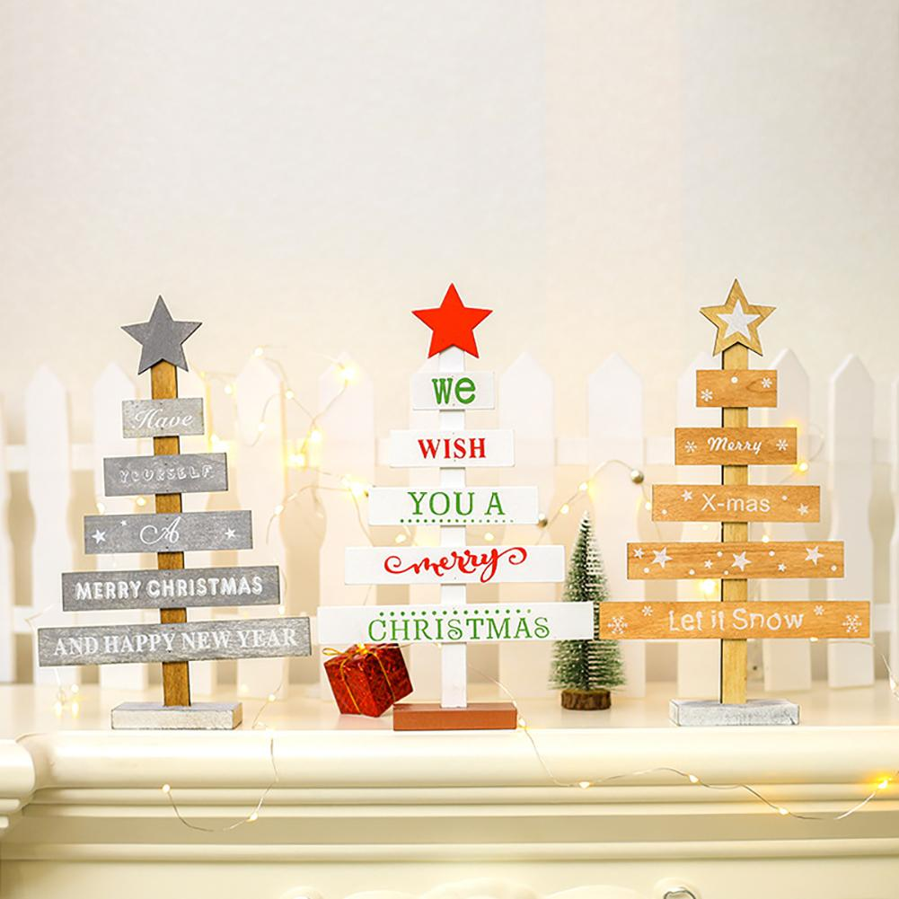 Us 227 28 Offmini Wooden Letter Print Christmas Tree Ornament Crafts Table Home Decoration Cute In Figurines Miniatures From Home Garden On