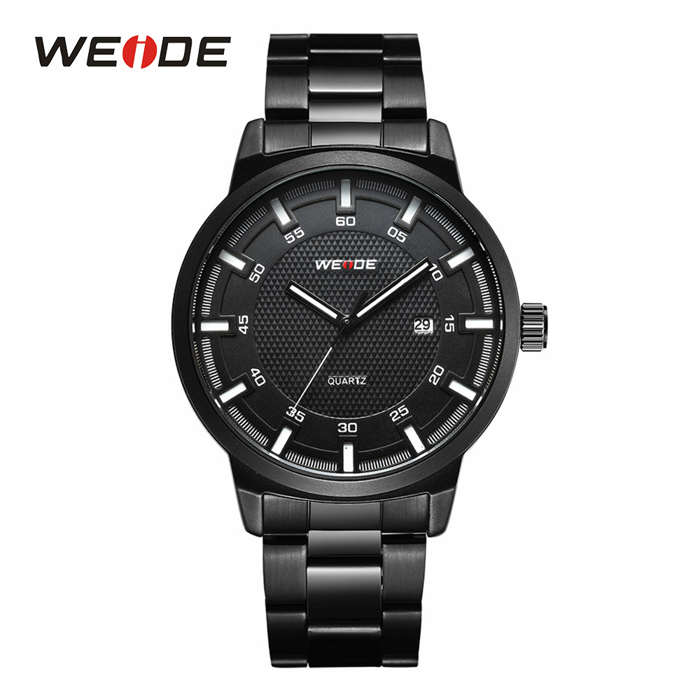 WEIDE Mens Sport Black Watch Analog Calendar Date Quartz Watches Full Steel Band Military Sports Wristwatches weide men watches clock analog quartz movement calendar date black leather strap band buckle hardlex wristwatches for sport