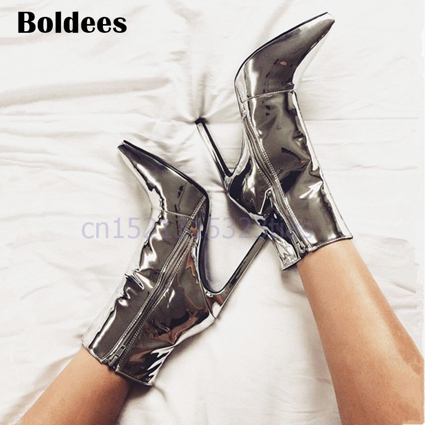 Fashion Mirror Leather High Heels Shoes Women Sexy Martin Boots Silver Nightclub Shoes Female Short Booties sexy supermodels catwalk shoes super high heels shoes 20 cm cos props nightclub paris fashion boots