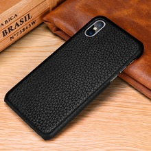 Luxury Litchi Pattern 100% Genuine Leather Case for iPhone XS Max Ultra Thin Protective Phone Cover Cases for iPhone XS XR Funda