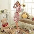 Mulheres grossas de Inverno polar Fleece Homewear Foral robes pijamas camisola de dormir feminino