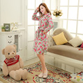 Womens Winter thick polar Fleece Homewear Foral robes sleepwear female sleeping sweater