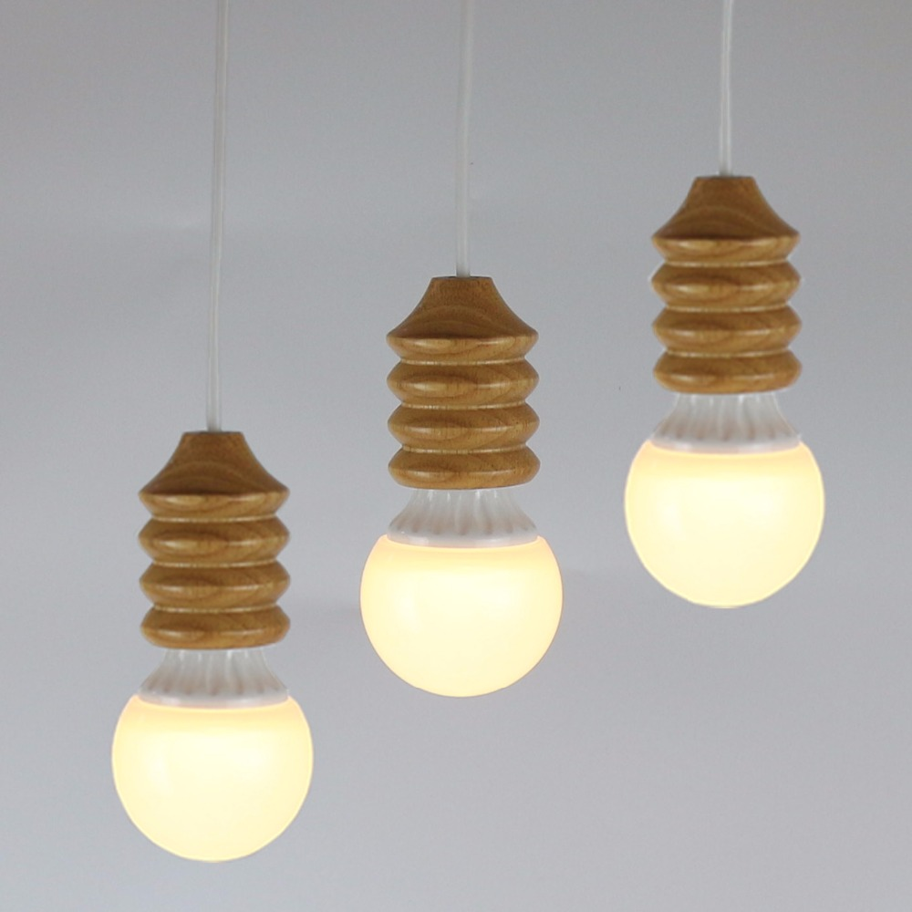 New Simple Pendant Light Wood Retro Lamp 120cm Color Wire E27 E26 Wiring A Ceiling Fixture Socket Lampholder Hanging Fixtureno Bulbs