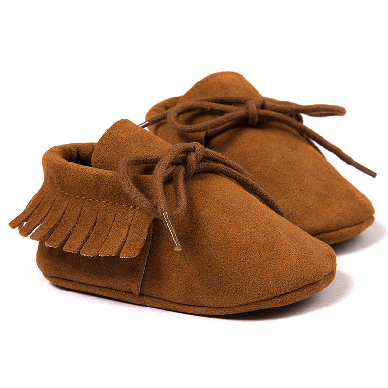 HOT SALE ROMIRUS Spring/Autumn Baby Moccasins shoes infant Scrub boots first walkers Newborn baby shoes Dark brown 11cm