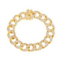 3 Row Hip Hop Jewelry Gifts Women Men Charm Stone Crystal Bracelets Bling Golden Rhinestone Zircon hand Chains Bangles