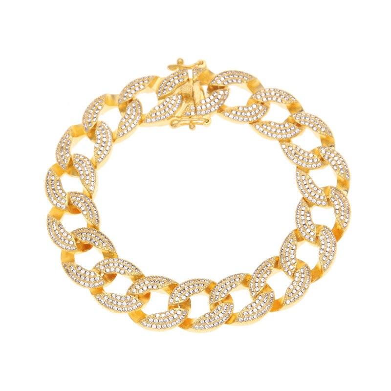 3 rangées Hip Hop bijoux cadeaux femmes hommes charme pierre cristal Bracelets Bling doré strass Zircon main chaînes Bracelets