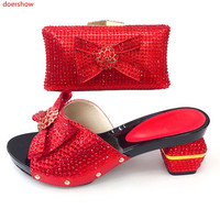 doershow new coming red Shoe And Bag Set African party Shoe And Bag Sets Italy Women Shoe And Bag To Match For party!!XS1 37