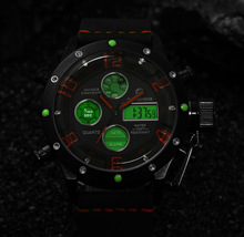 Золотой час новая мода часы мужские Кварцевые Час Аналоговые Часы Цифровой СВЕТОДИОДНЫЙ Водонепроницаемый Спорт Военная Наручные Часы
