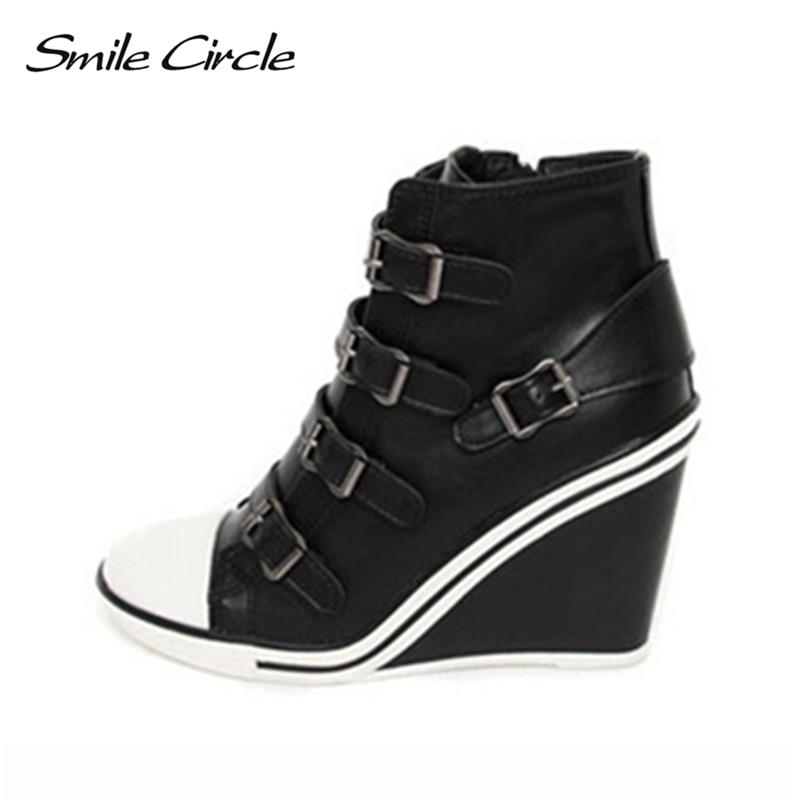 Smile Circle Autumn Winter Shoes For Women Wedges Sneakers Height Increase 10cm Platform Shoes Fashion Elevator High Heel Shoes