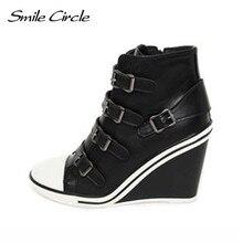 64df85818 Sorriso Círculo Sapatos de Inverno do Outono Para As Mulheres Cunhas  Sapatilhas Altura aumentar 10 centímetros
